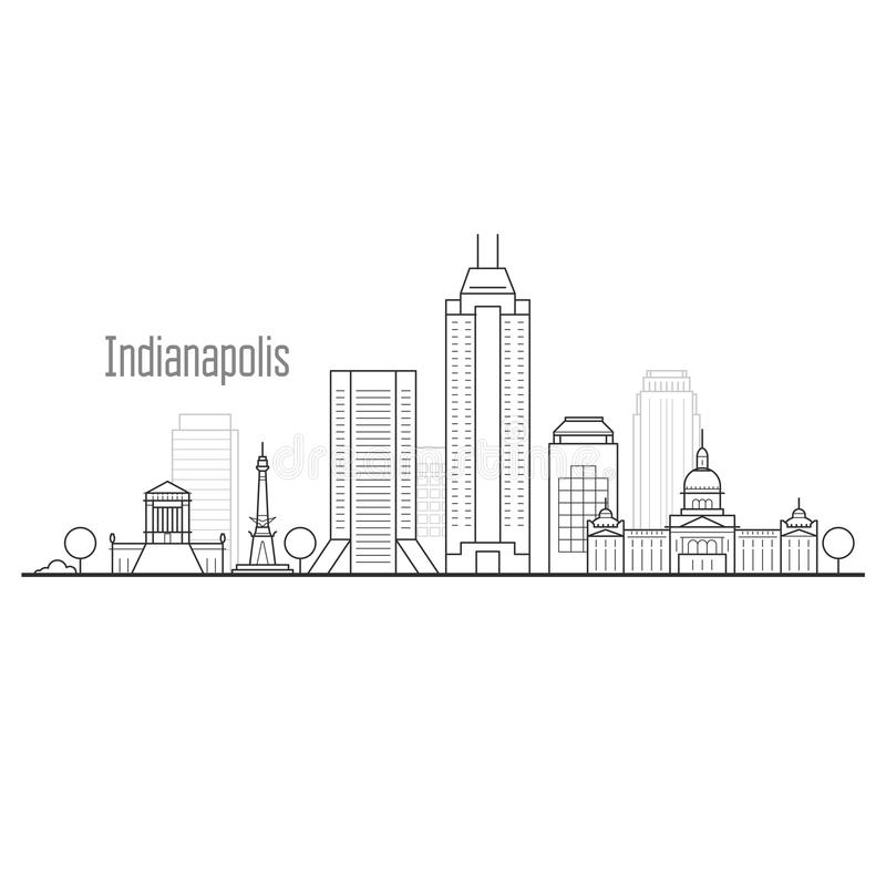 De stadshorizon van Indianapolis - cityscape van de binnenstad stock illustratie