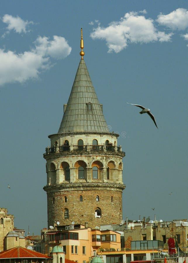 De stadshorizon van Istanboel in Turkije, Beyoglu-districts oude huizen met Galata-toren op bovenkant, mening van de Gouden Hoorn stock foto
