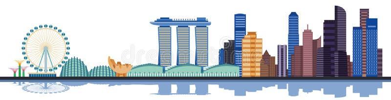 De stadshorizon van kleurensingapore Vector illustratie royalty-vrije illustratie