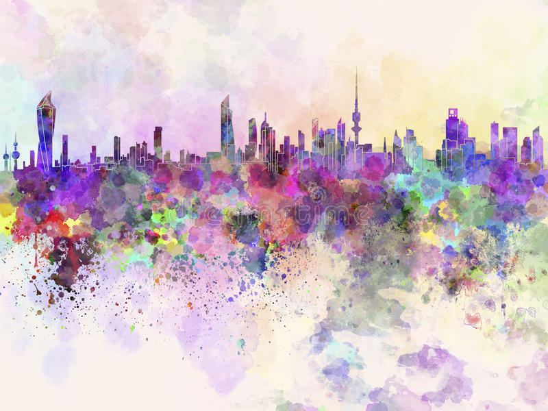 De Stadshorizon van Koeweit op waterverfachtergrond stock illustratie