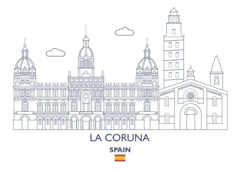De Stadshorizon van La Coruna, Spanje royalty-vrije illustratie