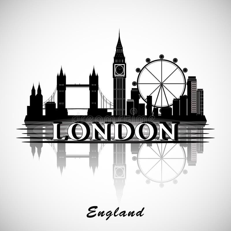 De stadsHorizon van Londen Typografisch ontwerp Eps10 Vector stock illustratie