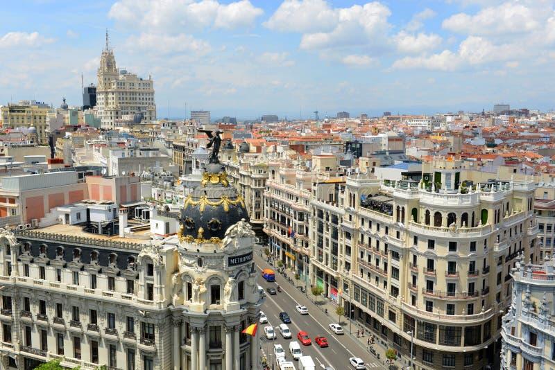 De Stadshorizon van Madrid, Spanje stock foto's