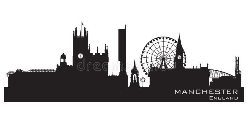 De stadshorizon van Manchester, Engeland Gedetailleerd silhouet stock illustratie