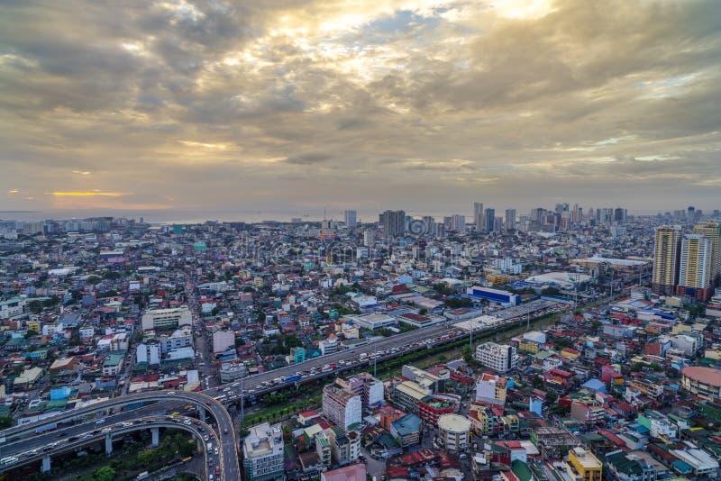 De stadshorizon van Manilla nightview, Manilla, Filippijnen royalty-vrije stock foto's