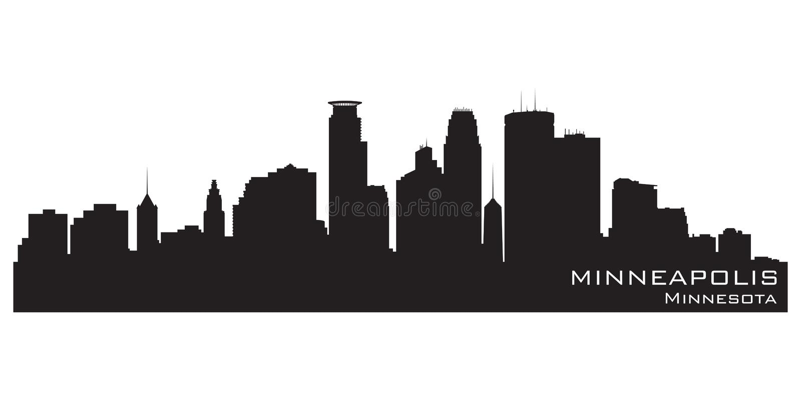 De stadshorizon van Minneapolis, Minnesota Gedetailleerd vectorsilhouet stock illustratie