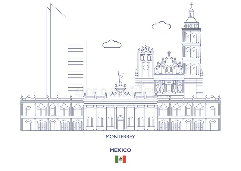 De Stadshorizon van Monterrey, Mexico stock illustratie