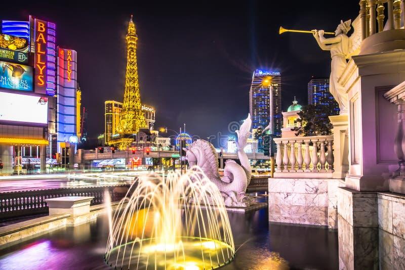 De stadshorizon van Nevada van Lasvegas en vegasstrook bij nacht stock afbeelding
