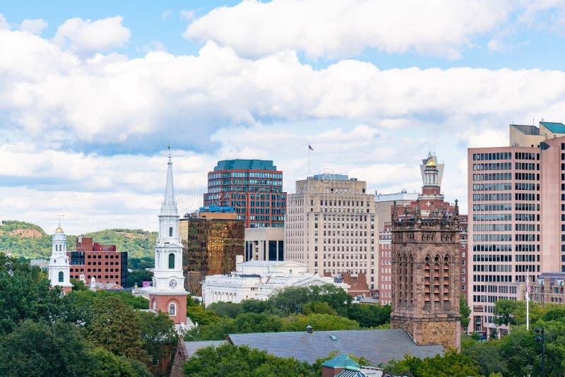 De Stadshorizon van New Haven, Connecticut royalty-vrije stock foto's