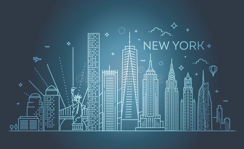 De stadshorizon van New York, vectorillustratie, vlak ontwerp stock illustratie
