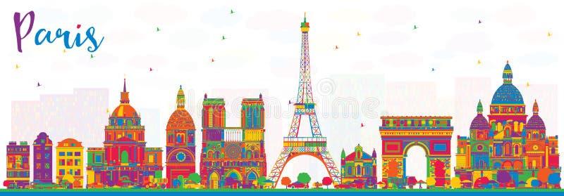 De Stadshorizon van Parijs Frankrijk met Kleurengebouwen royalty-vrije illustratie
