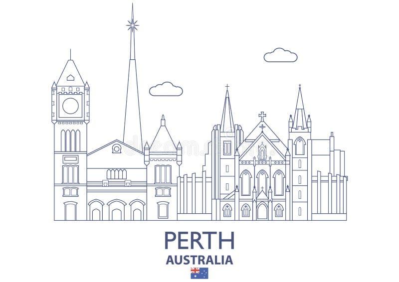 De Stadshorizon van Perth, Australië stock illustratie