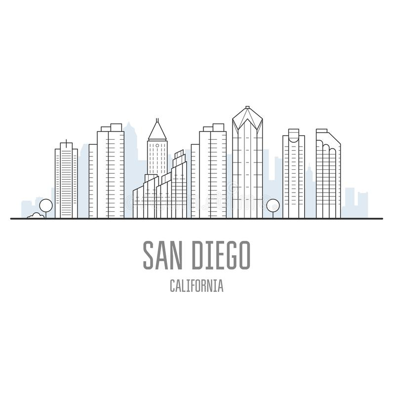 De stadshorizon van San Diego - wolkenkrabbers van San Diego royalty-vrije illustratie