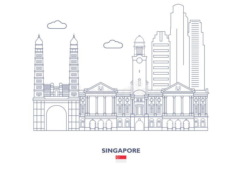 De stadshorizon van Singapore stock illustratie