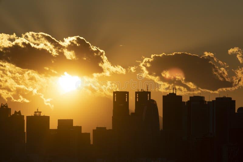 De stadshorizon van Tokyo in bedrijfsdistrict tijdens zonsondergang stock afbeeldingen