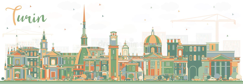 De Stadshorizon van Turijn Italië met Kleurengebouwen stock illustratie