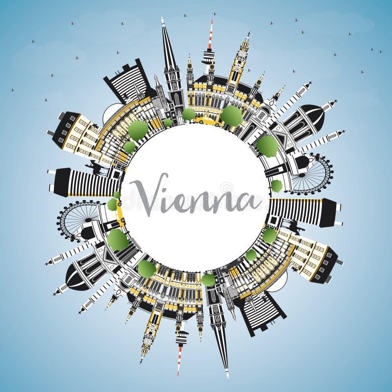 De Stadshorizon van Wenen Oostenrijk met Kleurengebouwen, Blauwe Hemel en Exemplaarruimte vector illustratie