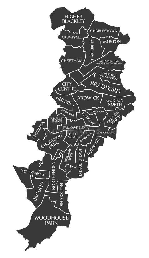 De stadskaart Engeland het UK van Manchester geëtiketteerd zwarte illustratie vector illustratie