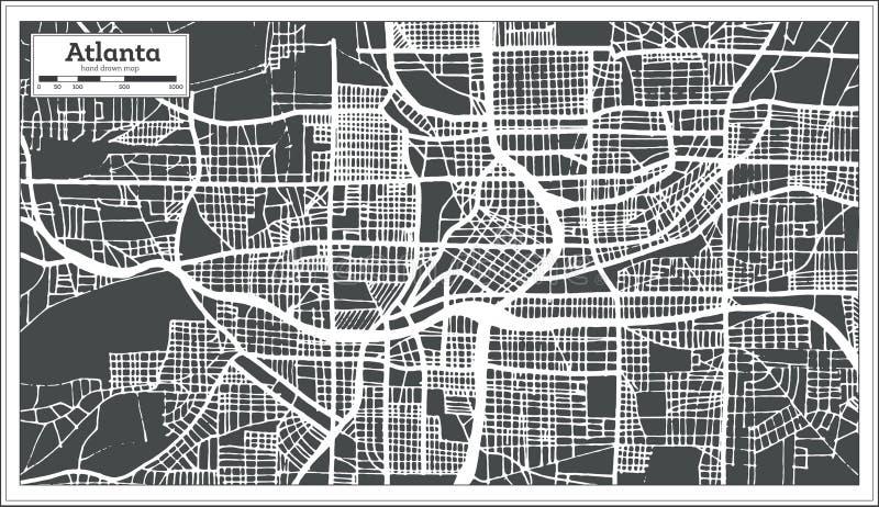 De Stadskaart van Atlanta Georgië de V.S. in Retro Stijl Zwart-witte vectorillustratie royalty-vrije illustratie