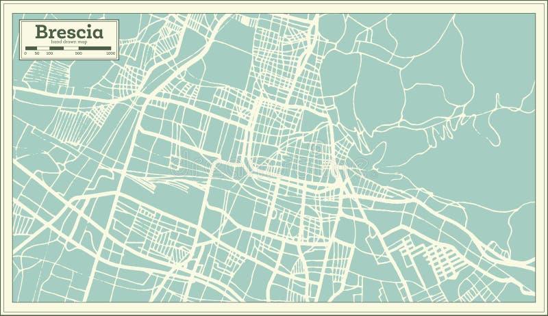 De Stadskaart van Brescia Italië in Retro Stijl Zwart-witte vectorillustratie vector illustratie