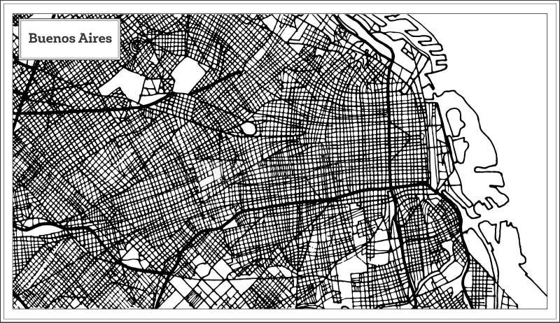 De Stadskaart van Buenos aires Argentinië in Zwart-witte Kleur stock illustratie