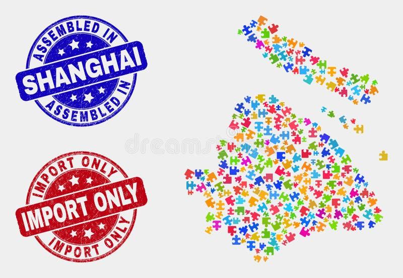 De Stadskaart van bundelshanghai en Gekrast Geassembleerde en de Invoer slechts Watermerken stock illustratie