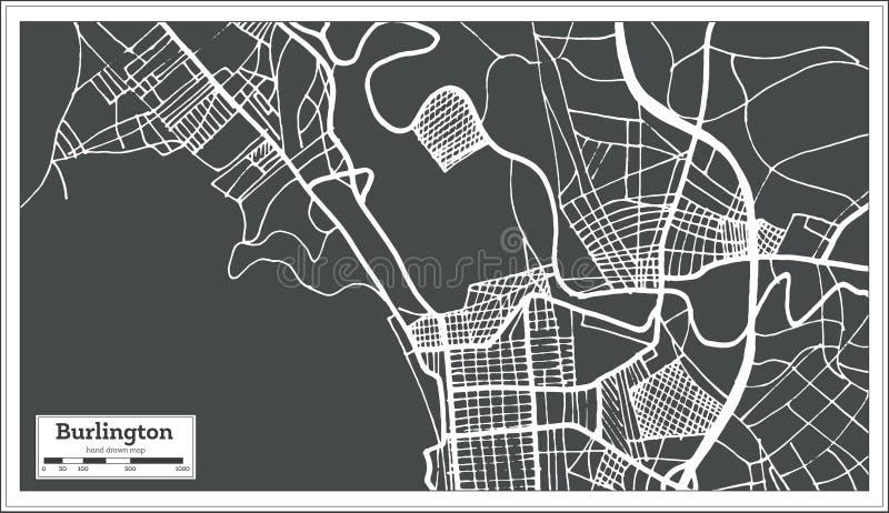 De Stadskaart van Burlington Vermont de V.S. in Retro Stijl Zwart-witte vectorillustratie vector illustratie