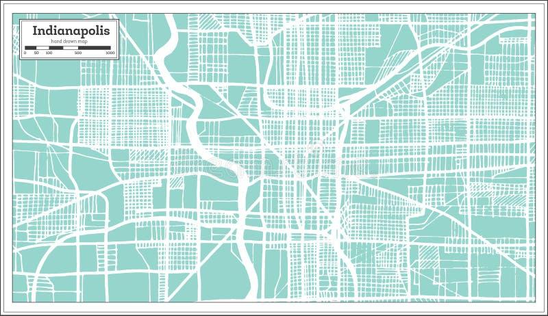 De Stadskaart van Indianapolis de V.S. in Retro Stijl Zwart-witte vectorillustratie vector illustratie
