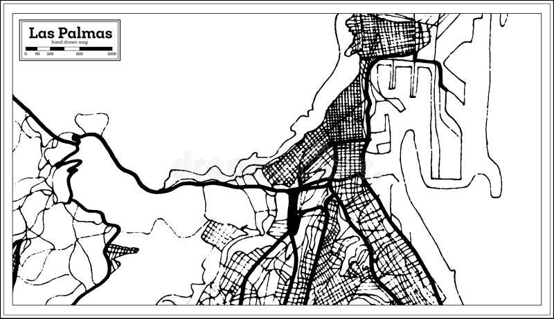 De Stadskaart van Las Palmasspanje in Retro Stijl Zwart-witte vectorillustratie vector illustratie