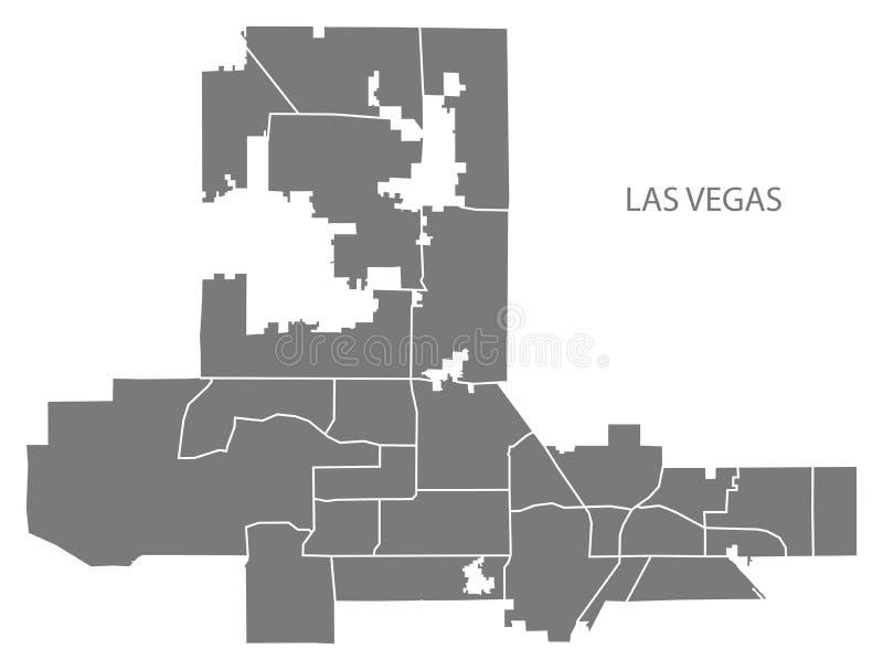 De stadskaart van Las Vegas Nevada met buurten grijze illustratie s royalty-vrije illustratie
