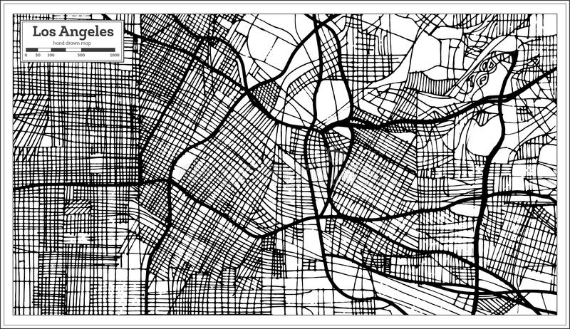 De Stadskaart van Los Angeles Californië de V.S. in Retro Stijlzwarte en Whi royalty-vrije illustratie