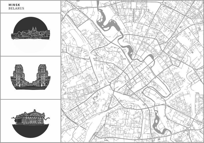 De stadskaart van Minsk met hand-drawn architectuurpictogrammen stock illustratie