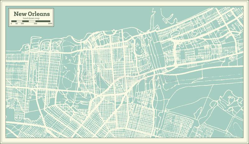 De Stadskaart van New Orleans Louisiane de V.S. in Retro Stijl Zwart-witte vectorillustratie royalty-vrije illustratie