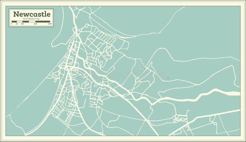 De Stadskaart van Newcastle Engeland in Retro Stijl Zwart-witte vectorillustratie stock illustratie