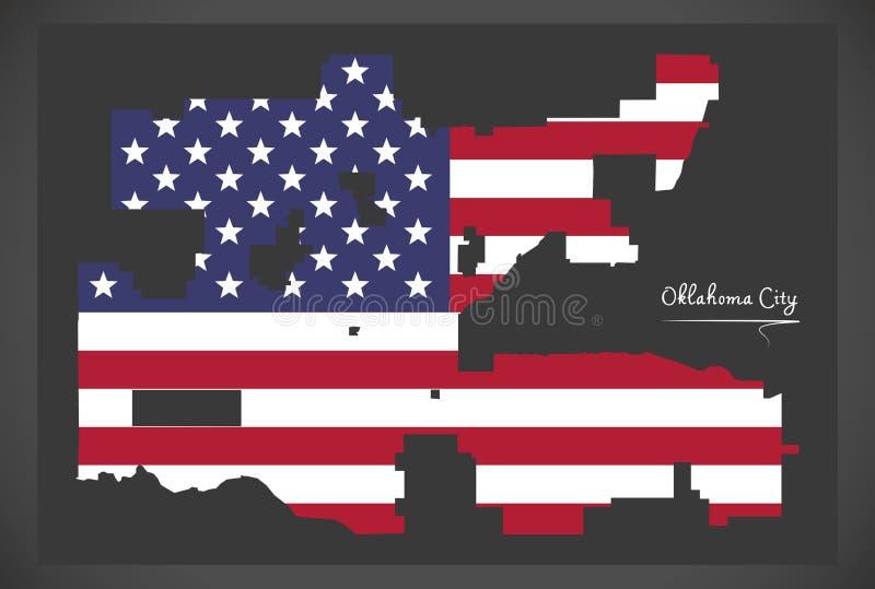 De stadskaart van Oklahoma met Amerikaanse nationale vlagillustratie stock illustratie