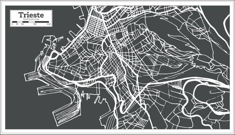 De Stadskaart van Triëst Italië in Retro Stijl Zwart-witte vectorillustratie vector illustratie