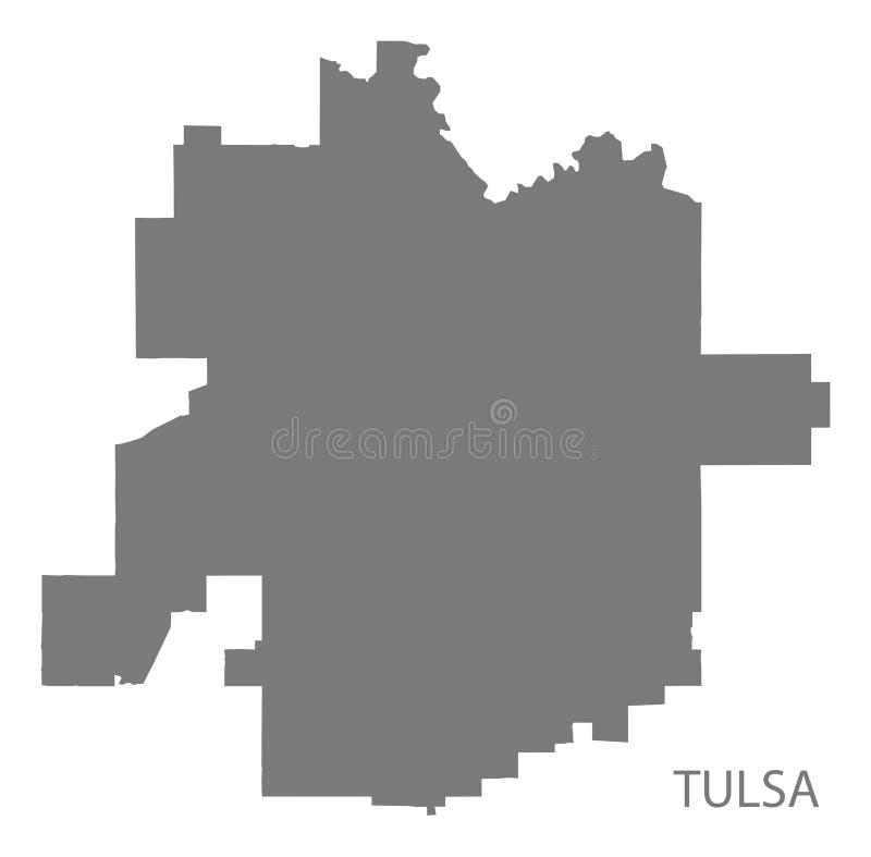 De stadskaart van Tulsaoklahoma met buurten grijze illustratie sil stock illustratie