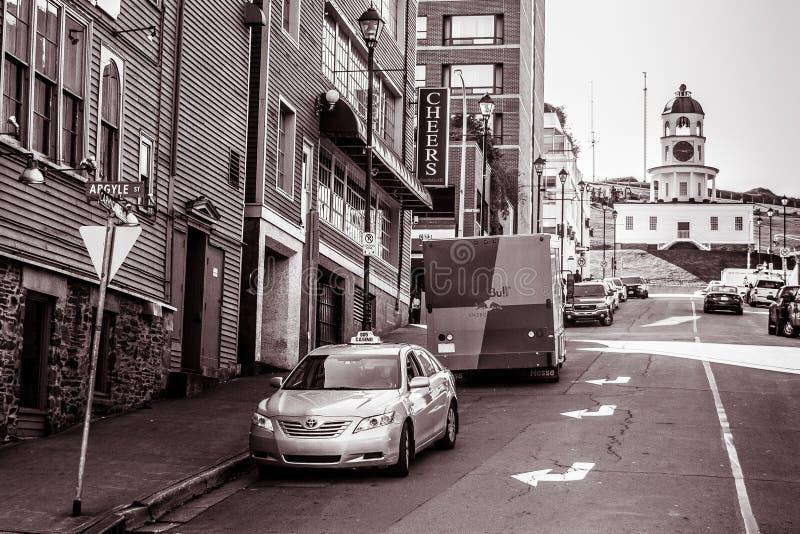 De Stadsklok van Halifax op Citadelheuvel, van Argyle Street royalty-vrije stock foto's