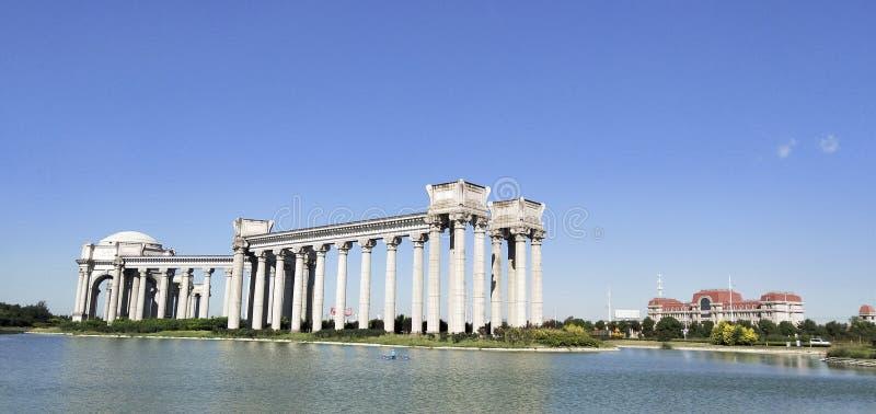 De Stadslandschap van China Tianjin -- De oriëntatiepunten van Binhaidagang stock foto's