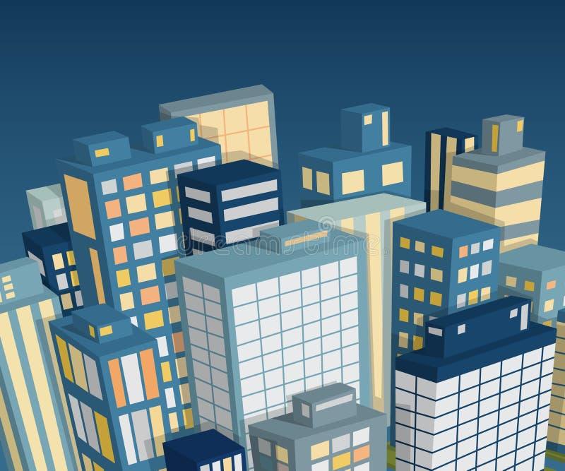 De stadslandschap van de nacht Isometrische mening royalty-vrije illustratie