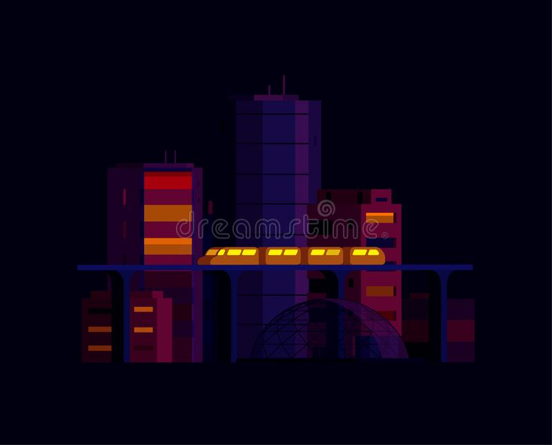De stadslandschap van de nacht Moderne architectuur, gebouwen, wolkenkrabbers Trein die de lichte spoorweg van de spoormetro krui vector illustratie