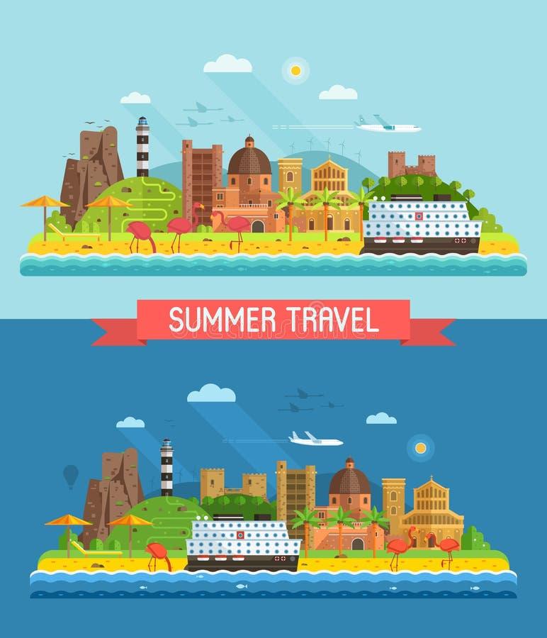 De Stadslandschap van de de zomer Mediterraan Kust stock illustratie