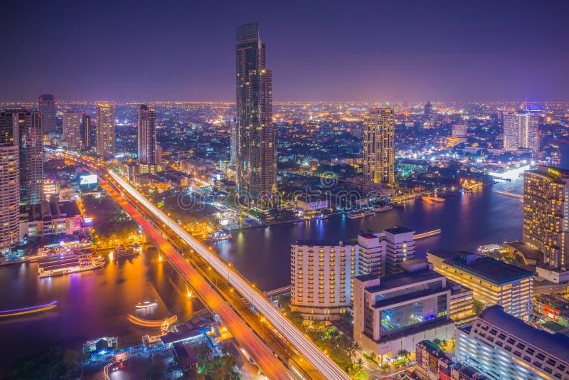 De stadsmening van Bangkok van hierboven, Thailand stock foto