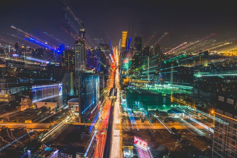 De stadsmening van Bangkok van hierboven, Thailand royalty-vrije stock foto's