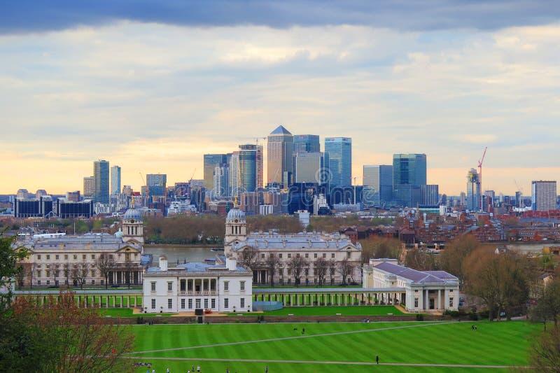 De stadsmening van Londen bij commerciële centrumkanarie Warth en Greenwich royalty-vrije stock fotografie