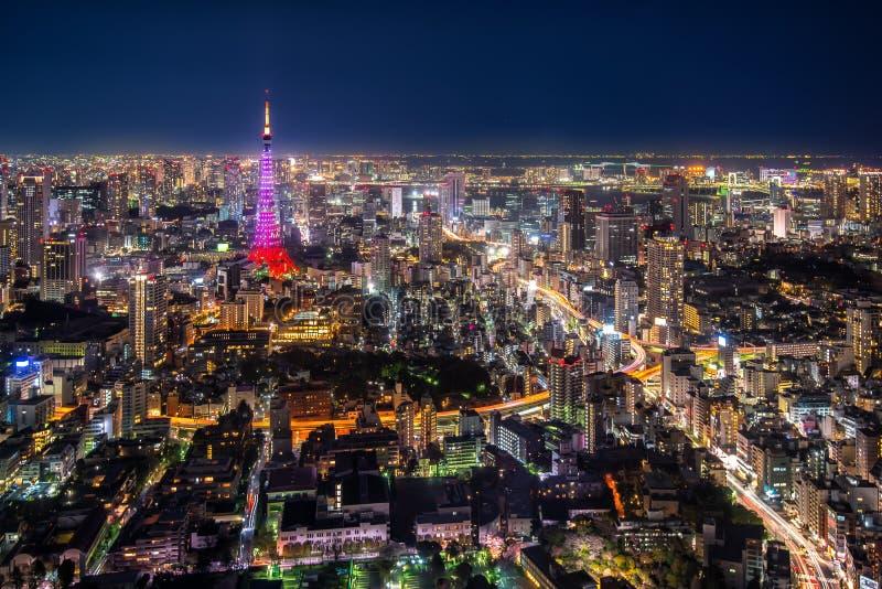 De stadsmening van Tokyo stock afbeeldingen