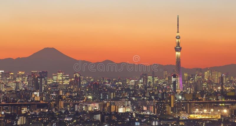 De stadsmening van Tokyo en skytree van Tokyo met MT Fuji stock foto