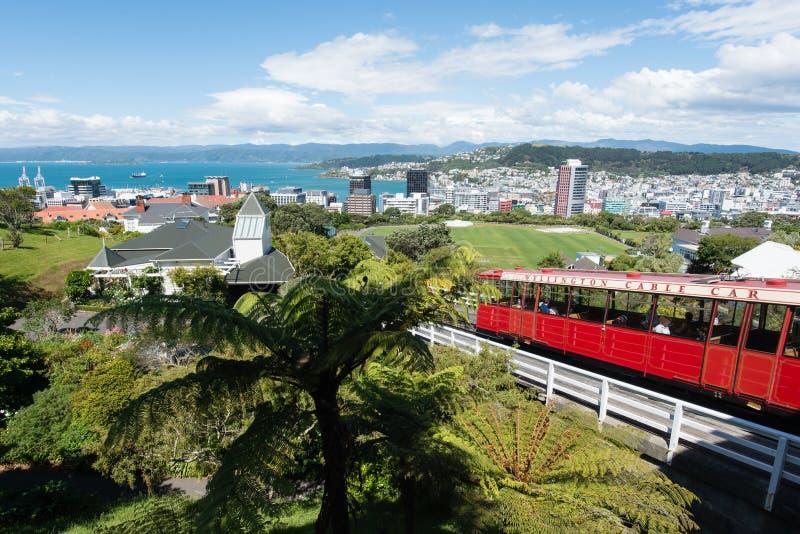 De stadsmening van Wellington van de Kabelwagen, Nieuw Zeeland stock foto's