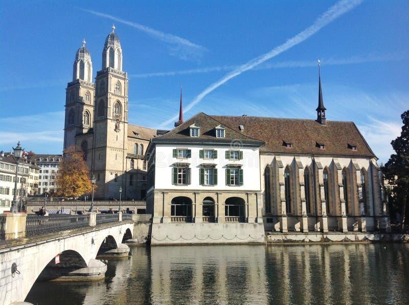 De Stadsmening van Zürich stock foto's