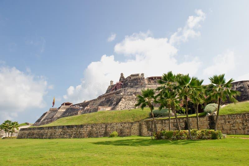 De stadsmuren Colombia van Cartagena stock afbeeldingen